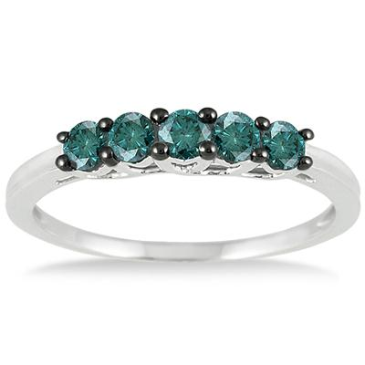 1/4 Carat Blue Diamond 5 Stone Ring in 10K White Gold