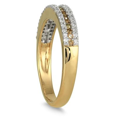 2/5 Carat Champagne and White Diamond Ring in 10K Yellow Gold