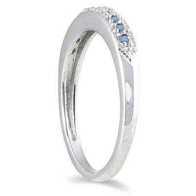 1/10 Carat Blue Diamond Wedding Band in 10K White Gold