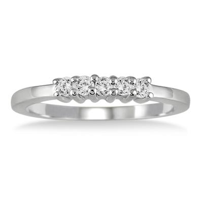1/4 Carat 5 Stone Diamond Wedding Band in 10K White Gold