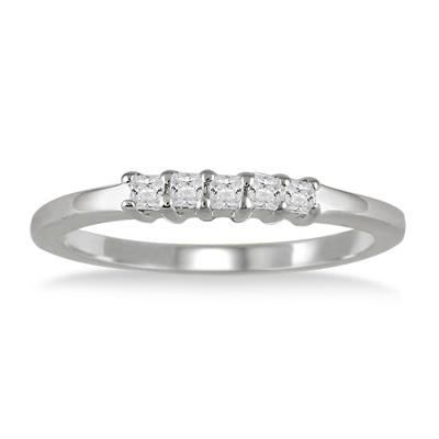 1/4 Carat Princess Cut Diamond Band in 10K White Gold