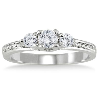 1/2 Carat TW Three Stone Diamond Ring in 10K White Gold