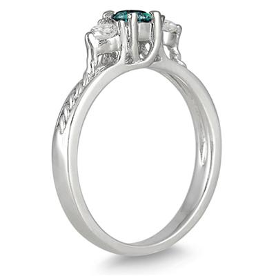 Blue and White Diamond Three Stone Ring in 10K White Gold