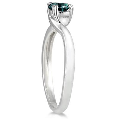 1/2 Carat Blue Diamond Ring in 10K White Gold