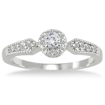 1/4 Carat Diamond Antique Ring in 10K White Gold