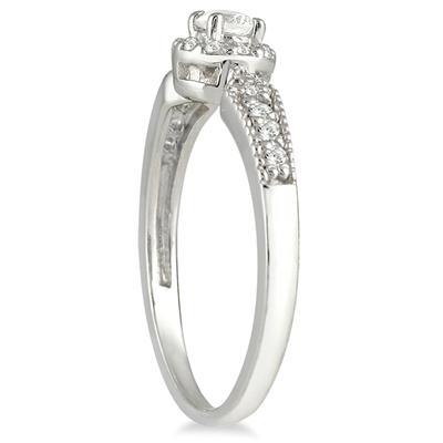 1/4 Carat Diamond Antique Ring in 10K White Gold
