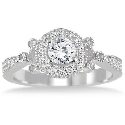 3/4 Carat White Diamond Antique Engagement Ring in 14K White Gold