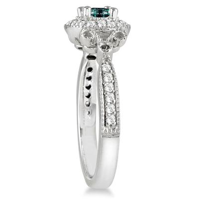 10k White Gold 4/5 Carat TDW Blue Antique Diamond Ring