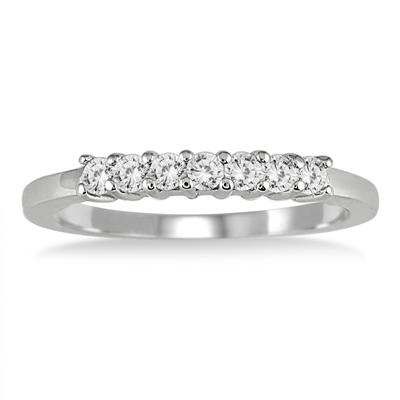 3/8 Carat 7 Stone Diamond Band in 10K White Gold