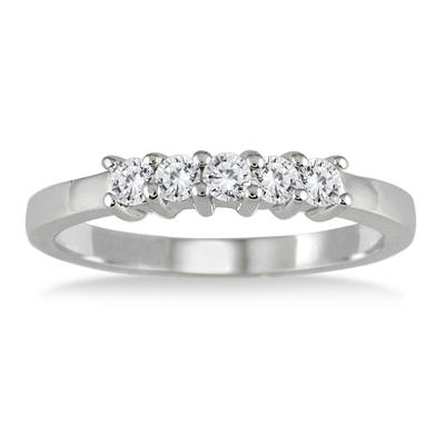 1/2 Carat 5 Stone Diamond Wedding Band in 10K White Gold