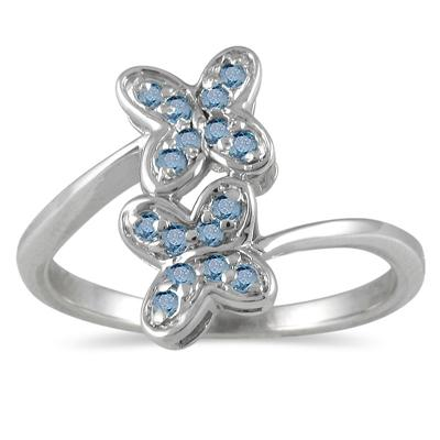 0.25CTW Blue Diamond Butterfly Ring in Sterling Silver
