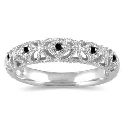 1/10 Carat TW Black Diamond Antique Band in 10K White Gold