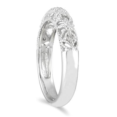 1/10 Carat TW Diamond Antique Band in 10K White Gold