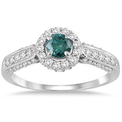 7/8 Carat Blue and White Diamond Ring in 10k White Gold