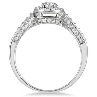 7/8 Carat Diamond Halo Engagement Ring in 10K White Gold