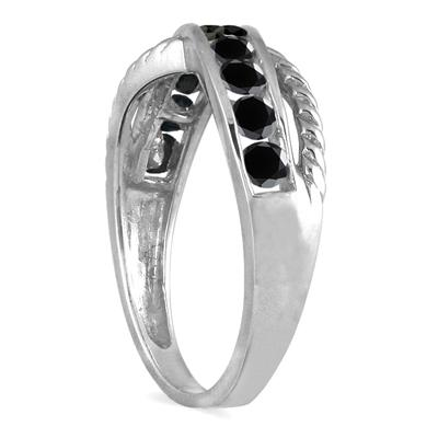 1/2 Carat TW 10 Stone Black Diamond Ring in 10K White Gold