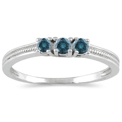 1/4 Carat TW Blue Diamond 3 stone Ring in 10K White Gold