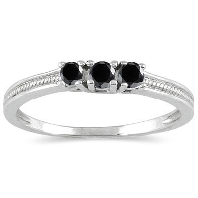1/4 Carat TW Black Diamond 3 stone Ring in 10K White Gold