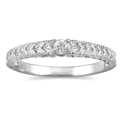 Antique Diamond Promise Ring in 10K White Gold