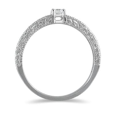 Antique Diamond Promise Ring in 10K White Gold