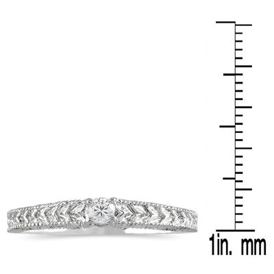 Antique Black Diamond Promise Ring in 14K White Gold