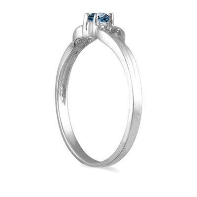 1/10 CTW Blue Diamond Heart Ring in 10K White Gold
