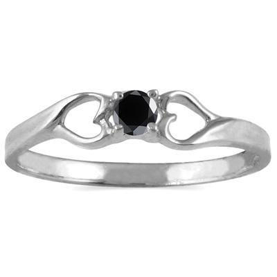 1/10 Carat TW  Black Diamond Heart Ring in 10K White Gold