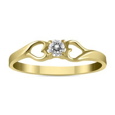 1/10 Carat TW Diamond Heart Ring in 10K Yellow Gold