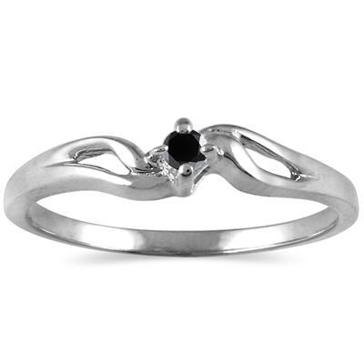 .07 Carat Black Diamond Promise ring in 10K White Gold