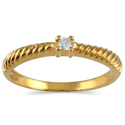 .05 Carat Diamond Rope Promise Ring in 10K Yellow Gold