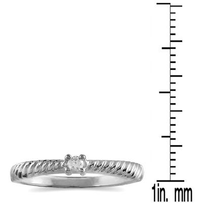 .05 Carat Diamond Rope Promise Ring in 10K White Gold