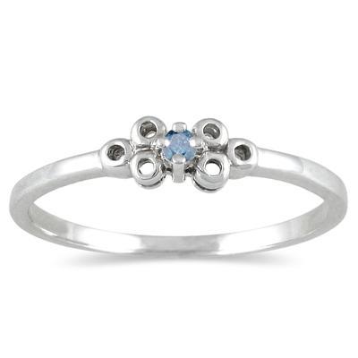0.03 CTW Blue Diamond Promise Ring in 10K White Gold