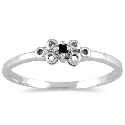 0.03 Carat Black Diamond Promise Ring in 10K White Gold
