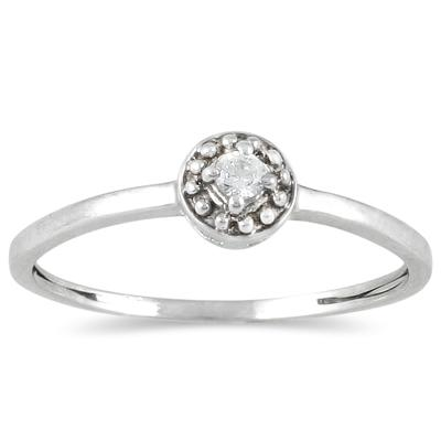 .05 Carat Diamond Antique Promise Ring in 10K White Gold