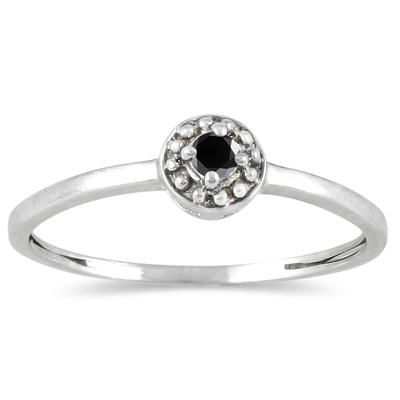 .05 Carat Black Diamond Antique Promise Ring in 10K White Gold
