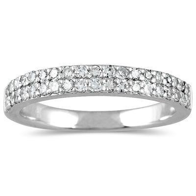 3/8 Carat TW Diamond Wedding Band in 10K White Gold