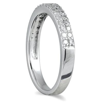3/8 Carat Diamond Wedding Band in 10K White Gold