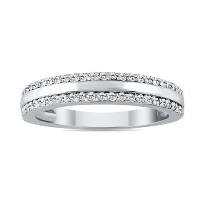 1/4 Carat TW Diamond Wedding Band in 10K White Gold