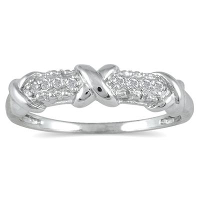 1/10 Carat Diamond Hugs and Kisses 8 Stone Ring in .925 Sterling Silver