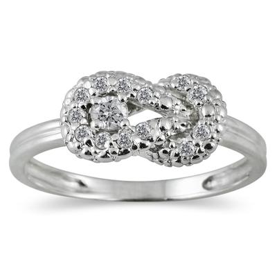 1/4 Carat TW Diamond Knot Ring in 10K White Gold