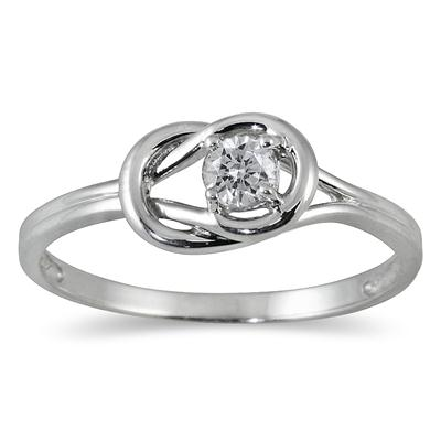 1/6 Carat Diamond Love Knot Ring in 10K White Gold