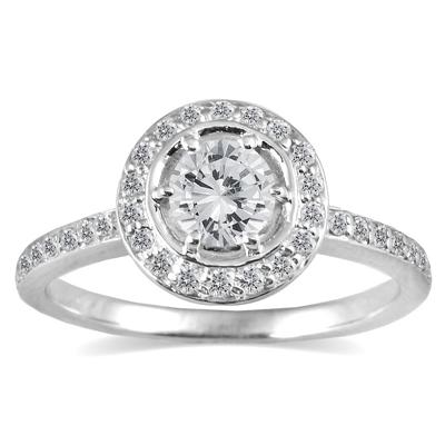 3/4 Carat Diamond Halo Ring in 14K White Gold