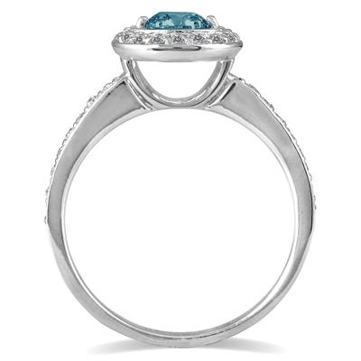 3/4 Carat Blue and White Diamond Ring in 14K White Gold