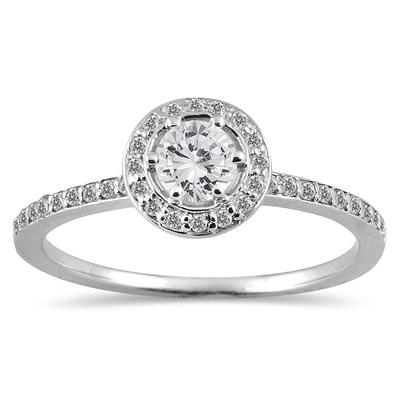 1/2 Carat Diamond Halo Ring in 14K White Gold