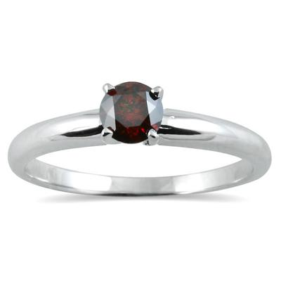 1/4 CTW Cognac Diamond Ring in 14K White Gold