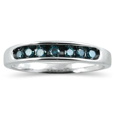 1/4 Carat Blue Diamond Ring in 10K White Gold