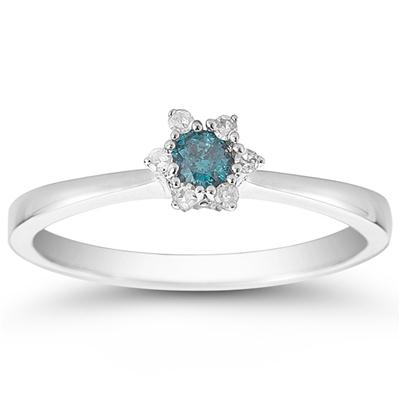 1/6 Carat Blue and White Diamond Ring in 10K White Gold