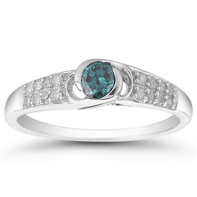 2/5 Carat Blue and White Diamond Ring in 10K White Gold