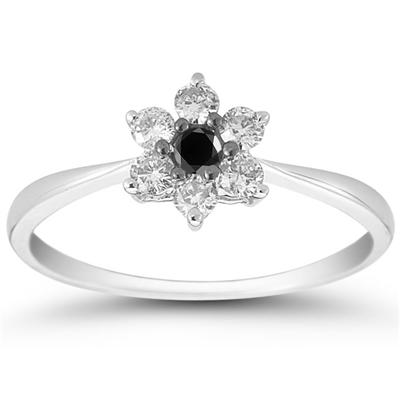 1/6 Carat Black and White Diamond Flower Ring in 10K White Gold