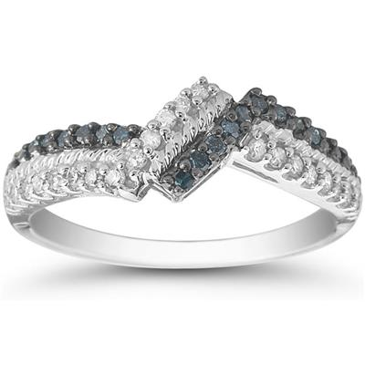 1/3 Carat  Blue and White Diamond Ring in 10K White Gold